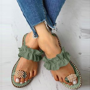 2020 new Women Girls Pearl Flat Slipper Bohemian Style Casual Slippers Beach Shoes For Woman Crystal Bling Women's Summer Footwear