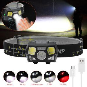 1200 Lumen faróis LED Motion Sensor Ultra Brilhante Capacete Head Lamp Powerful Farol USB recarregável Waterproof