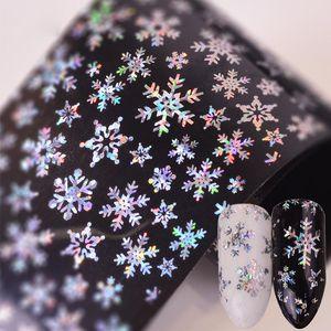 De Navidad del arte del clavo de etiquetas 3D del copo de nieve de la estrella del laser del brillo de Navidad decoraciones de uñas de manicura del arte Transferencia Láminas 100x4cm