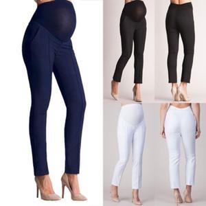 Pantalones de maternidad embarazadas Pantalones Mujeres Estiramiento Vientre elástico Pantalones de lápiz embarazadas Mujeres embarazadas Leggings de cintura alta