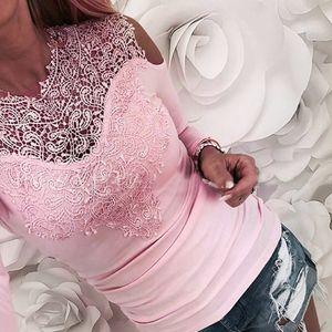 Mulheres luva Lace longo Tshirts Tops Sólidos Casual Womens magros oco Flor Blusa pulôver Escritório