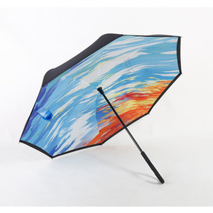 Paraguas inverso a prueba de viento Nuevo diseño 82 colores Paraguas invertidos de doble capa Paraguas con mango en C Para coche Logotipo del cliente imprimible EEA531