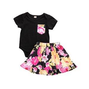 Fashion Newborn Baby Girls Romper Bodysuit Jumpsuit Tops + Floral Printed Mini Skirts Dress Outfits Set Sunsuit Summer