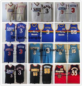 Nikola DenverNuggetsnba Männer Jahrgang 15 Jokic Jersey 55 Mutombo Carmelo Anthony 3 AllenIverson genähtes Basketball-Trikots