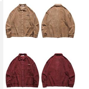 Mens Hip Hop Streetwear Giacca in velluto a coste Retro annata del rivestimento del cappotto 2020 Autunno pulsante allentato Bomber Tasche Cotone Blu Rosso