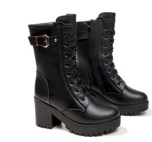 New autumn winter Martin boots rivet thick heel black handsome high heel boots,the first layer of cowhair,thin leg beauty V100