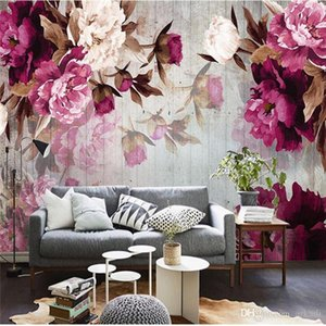 Arkadi Custom Photo Wallpaper Wall Sticker Handmade Peony Flower Wooden Background papel de parede 3d para sala atacado