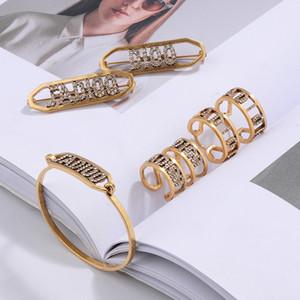 D letter bracelet female zircon advanced temperament earrings 2019 ring hairpin brooch