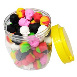 Container Box 100pcs / can 3ml Schädelbehälter sortierte Farbe Silikonbehälter für Tupfer Silikonbehälter Wachs Silikon Gläser Tupfen Behälter