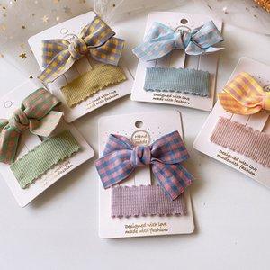 2PC Handmade Девушки Ткань Art Bow узел заколок Сладкие волос Цанги Barrettes Аксессуары Головные уборы