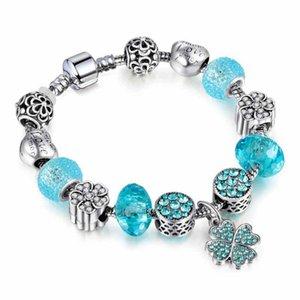 charm bracelets Alloy Zircon silver plated four-leaf clover pendant blue beads Classic for European Woman Men Gifts Wholesale