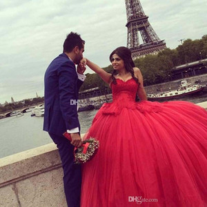 Newest Ball Gown Quinceanera Dresses Sweetheart Appliques Sequins Beaded Tulle Floor Length Corset Debutante Sweet 16 Dresses
