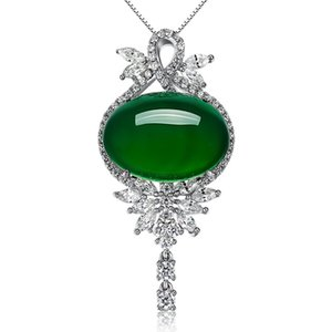 D232 High quality big emerald crystal Pendant Statement silver Girls Necklace Fashion Class around of more white crystal Women Lady Jewelry