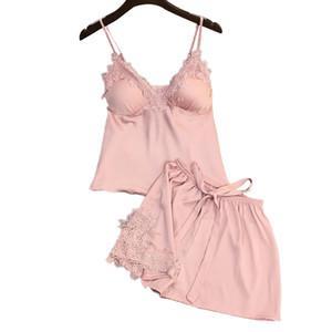 Lisacmvpnel Set da donna in seta di seta con pigiama scollo a V e pigiama estivo femminile sexy C19040901