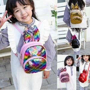 2020 최신 장식 조각 버니 백팩 귀여운 아이 토끼 귀 배낭 학교 가방 배낭 유치원 소년 소녀 장식 조각 귀 배낭