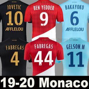 Monaco Soccer Jersey 19 20 21 maillot de pé 2020 2021 BEN Yedder GELSON.M FALCAO FABREGAS Golovin JOVETIC casa longe camisa do uniforme de futebol