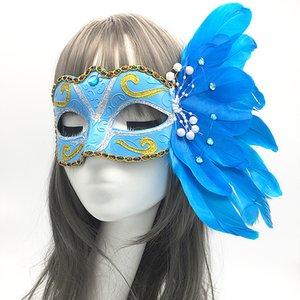Máscara estágio de desempenho mostram Masquerade Carnival Halloween Natal pintado máscara de penas Meia cara