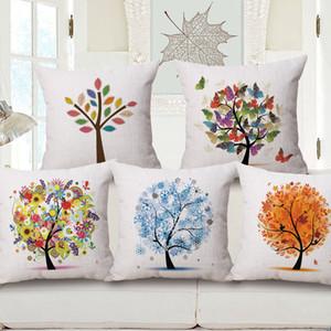 Vier Jahreszeiten Baum Life Tree Olive Anzahl Druck Baumwolle Kissen Kissen Kissenbezug Geschenk