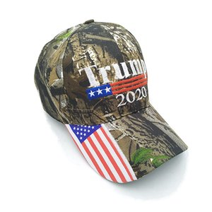 Camouflage Donald Trump Hat USA Flag Baseball Cap Keep America Great 2020 Hat 3D Embroidery Star Letter Camo Adjustable Snapback RRA3083