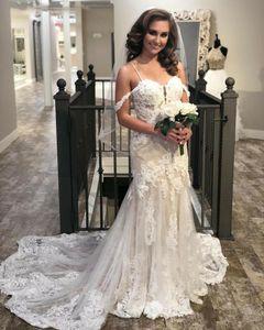 Luxury Lace Mermaid Wedding Dresses Spaghetti Straps Off Shoulder Sweep Train New Spring Design Bridal Gowns Custom vestidos de novia