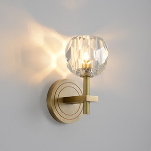 Modern copper crystal wall lamp living room bedroom bedside lamp Nordic  LED wall light
