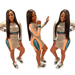 Campeón de las mujeres de manga larga vestido de verano bodycon camisa + minifalda vestido de dos piezas de moda de alta calidad falda klw0953