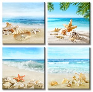 Beach Seashells Wall Art Summer Vacation Pearl Starfish Sandbeach Theme Artwork Modern Sea Bathroom Pictures Decor Painting Prints on Canvas
