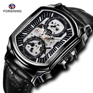 Vainqueur Classique Hommes Montres bracelet en cuir noir Montre Mécanique Automatique Homme Sport Horloge