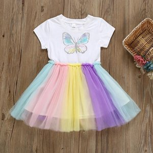 Toddler Baby Kids Girls Butterfly Rianbow Tulle Dress Princess Dresses Clothes Infant Party Clothing Birthday Dress