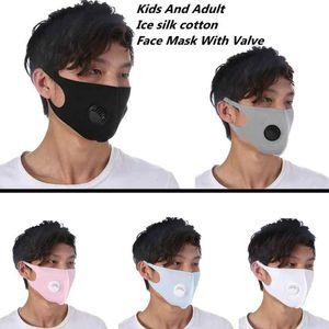 Adultes et enfants masque anti-poussière visage masque respiratoire Valve réutilisable anti-poussière PM2,5 Haze Ice Silk Masques coton ZZA1871 120pcs