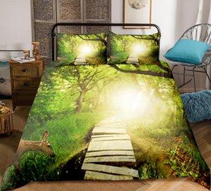 مجموعة مفروشات طبيعية فورست دريم لاند غطاء لحاف مزين برسومات 3D Dreamy Bedclothes green منسوجات منزلية التوأم ملكة مزدوجة دروبشيب