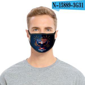 36styles 3D US Flag Mask American Independence Day Maschera maschere antipolvere lavabile 2020 Bocca calotta di protezione Modo GGA3511-10