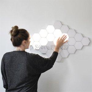 Luminária Quantum Toque Parede conduziu as lâmpadas Hexagonais iluminação sensível ao toque modular luz noturna hexágonos magnéticos decoração criativa parede lampara