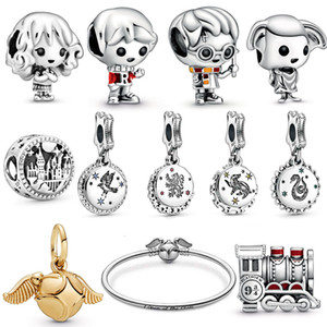 2019 New S925 argent sterling Harry Magic School. Train. Dollhouse Elf. Charms Perles mascotte Bracelets Bijoux Lady Noël bricolage cadeau