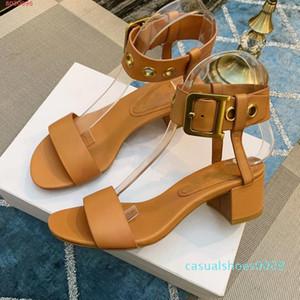 New Appival Les femmes de la mode confortable à faible sandales décontractée solides concepteur côtés talon qualité supérieure extérieur en cuir véritable 2019 nouveau style CC9