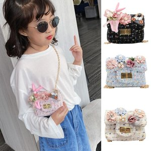 Fashion Children Lovely Girls Shoulder Bag Pearl Flower Woven Hasp Coin Bag handbags women bags 2020 #R20