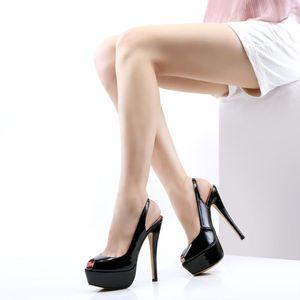 LOSLANDIFEN New 14CM Platform Super High Heels For Woman Sexy Open Toe Sandals Gladiator Party Dress Women Shoes Plus Size 42 CY200518