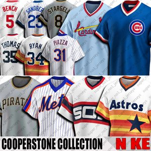 Shirt vintage 5 Johnny Bench Jersey Ozzie Smith Jersey Mike Nolan Ryan Mike Piazza Truite Thomas Stargell Throwback Baseball Jersey