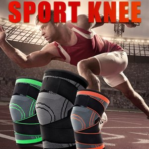 1PC Sports Kneepad Men Pressurized Elastic Knee Pads Support Fitness Gear Basketball Volleyball Brace Protector In Stock