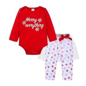 Ins enfant fille Vêtements de Noël Set flocon de neige imprimé Romper + Robe Pantalon avec nœud 2 pcs bébé Joyeux Noël New 2019