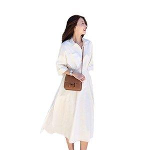 2020 new fashion very fairy French minority dress womens summer waist shows thin temperament long shirt skirt