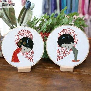 الزفاف التقليدية الصينية غرفة المعيشة الديكور غرفة النوم التطريز قلادة زوجين غرفة الزفاف عبر غرزة طقم هدية
