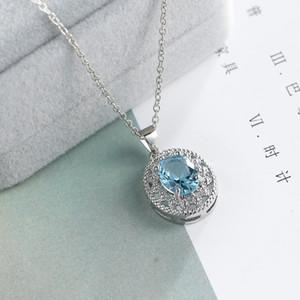 Colar Topaz cristal Colares Para Casamento azul Colar Fine Jewelry