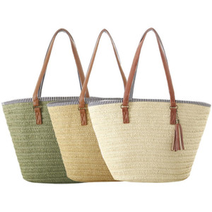 Women Beach Straw Bag Pure Color Single Shoulder Bag Natural Fashionable Woven Tassel Bags For Women Brand New J190712
