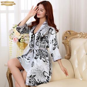 Sexy Summer nuit 2Pc Nightgown Faux Femmes Robe De Nuit Mini Kimono bain de Bell Robe en soie Casual Notte Silky Robe Femme