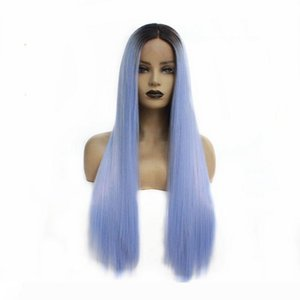 Long Silky Straight Hair Natural Roots Ombre Light Blue Color Synthetic Wig Soft Lace Front Wig for Women