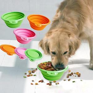 Dog Bowl складной Складной силиконовой собака чаша цвет конфеты Открытого Путешествие Портативного щенок Дуга контейнер еда фидер Блюдо EEA1607