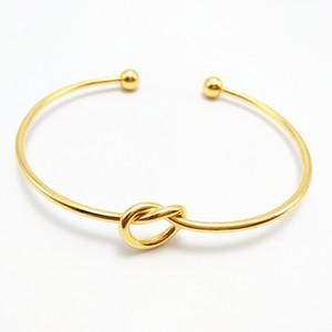 2020 4 Farben erweiterbar Offener Draht Armbänder Charm Liebes-Knoten-Stulpe öffnet Armband-Armband für Kinder Erwachsene Einfachen Schmuck Geburtstagsgeschenk H997F