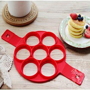 Antiadherente fantástico Pancake Pan tirón desayuno es perfecto Fabricante de huevos tortilla corazón de la estrella herramientas del molde 7 Rejillas de silicona Pancake YD0612 Fabricante