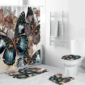4PCS مجموعة حمام عدم الانزلاق الركيزة البساط + غطاء غطاء المرحاض + حمام حصيرة + دش الستار الحمام الديكور -F300514 مقاوم للماء